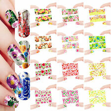 12 Sheets Nail Manicure Tips Water Transfer Decal Stickers Flowers 637-648