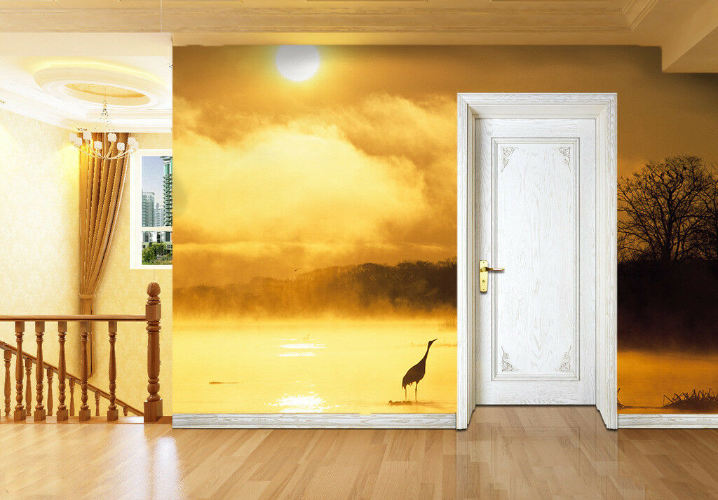 3D Sky Lake Heron 82 Wallpaper Mural Paper Wall Print Wallpaper Murals UK Lemon