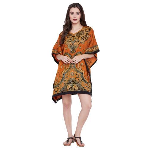 Women Tunic Dress Kaftan Plus Size Brown Caftan Women Boho Beach Wear Mini Dress