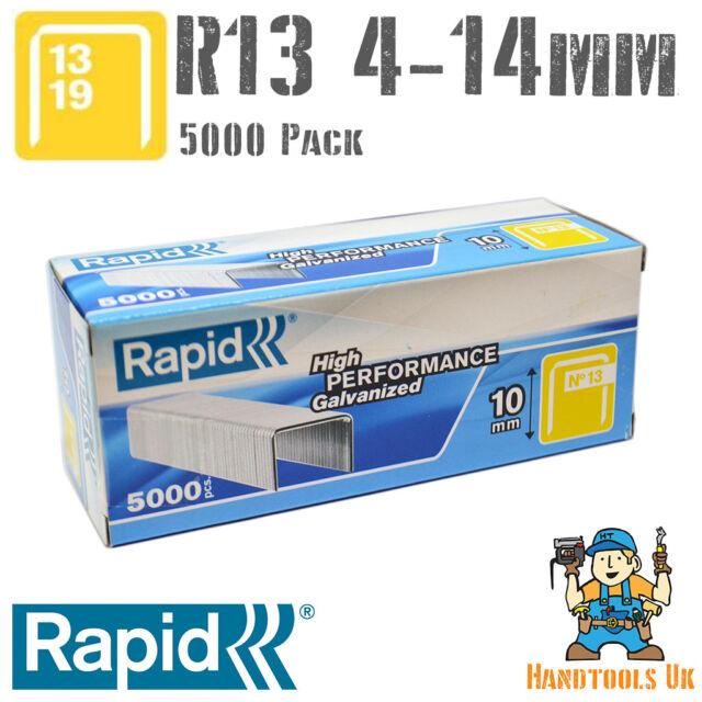 Rapid 13//10 10mm Galvanised Staples Box 5000 RPD1310