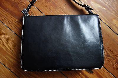 Salamander Schultertasche schwarz box bag Nähte Vintage Kelly