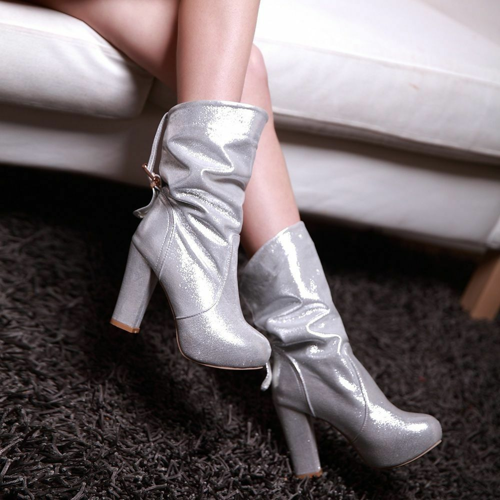 Women Glitter Buckle Platform Block High Heels Stylish Ankle Knight Boots Shoes