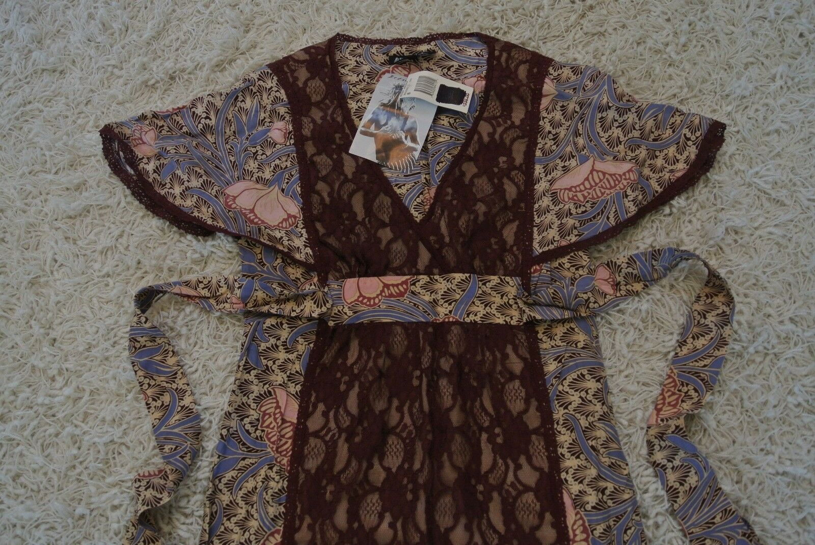 BETSEY JOHNSON SILK Floral Lace Boho Dress 6 NWT 335 Gorgeous Fabric & Design