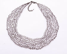 MODERN GEOMETRICAL METAL 'LACE' COLLAR NECKLACE WHITE SPARKLING BEADS (ZX33)
