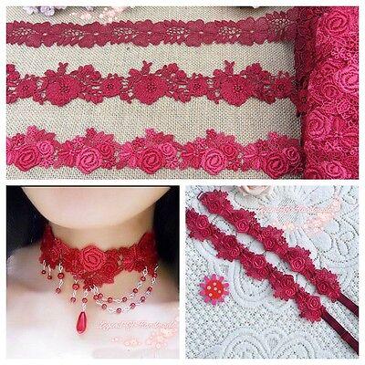 1Y Beautiful Venise Lace Trim~Red Tones~Quartrefoil/Daisy/Royal Rose~Charming~