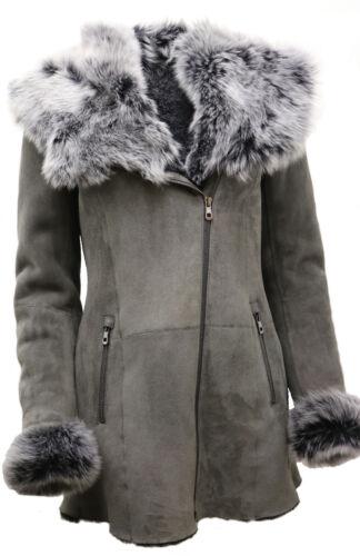 peau col avec luxueux Manteau de mérinos pour femmes Toscana en mouton F1JTc3lK