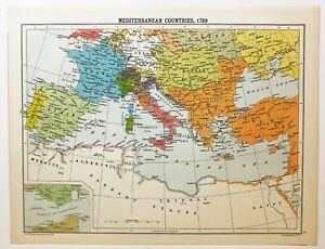 Historical Map Mediterranean Countries 1789 Ottoman Empire France