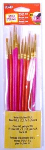 PLAID Mod Podge DETAIL PAINTBRUSHES Paint Brush 10 piece Round Flat Liner 25140