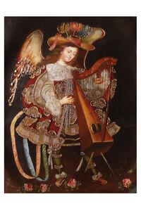 Musician-Archangel-With-Harp-Original-Cuzco-Peru-Art-Oil-Painting-On-Canvas