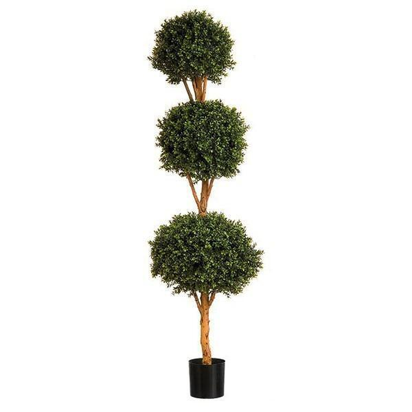 New Natural Stem Artificial Topiary Buxus   Boxwood Triple Ball Tree 4ft