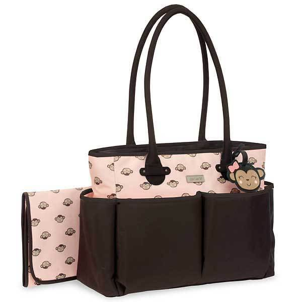 Carters Pink Monkey Tote & Changing Pad Storage Carrier Diaper Bag Organizer