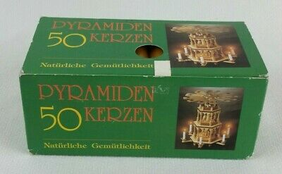 50 RED WHITE NATURAL GERMAN CHRISTMAS PYRAMID CANDLES PYRAMIDENKERZEN 1.4 cm
