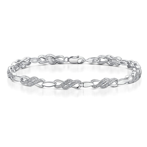 Mens Womens Sterling Silver Diamond Bracelet Double Kiss Crossover Bracelet