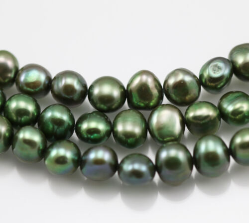 8-9 mm Grey Pink Lavender Green Peacock Baroque Nugget Freshwater Pearls Beads
