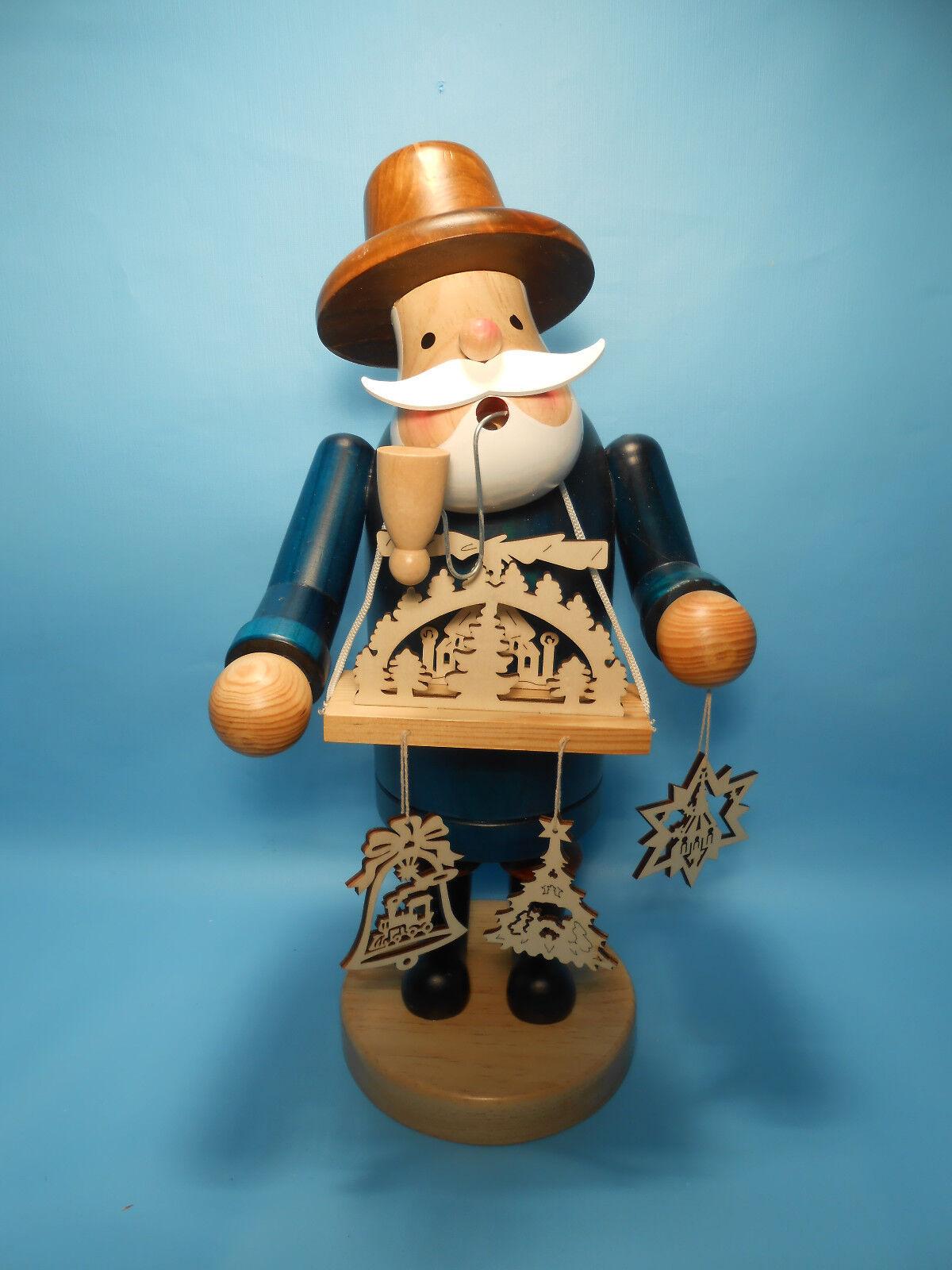 Grosser Räuchermann Rauchmann Figur mit Schwibbogen 30 cm blau aus Holz neu