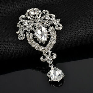Silver-Rhinestone-Diamante-Silver-Large-Flower-Bridal-Brooch-Pin-Wedding-Jewelry