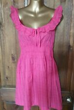 FS size 12 fine texture cotton feel hot pink frill summer sun tea holiday dress
