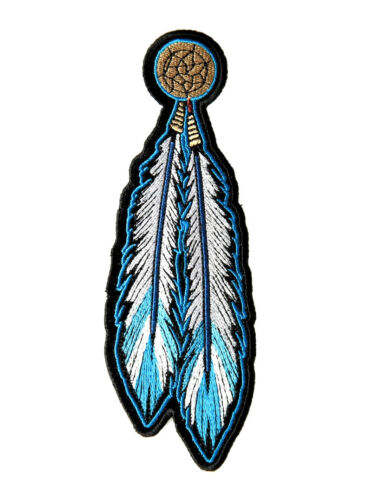 Native Indian Blue Dream Catcher Feathers Biker Patch FREE SHIP