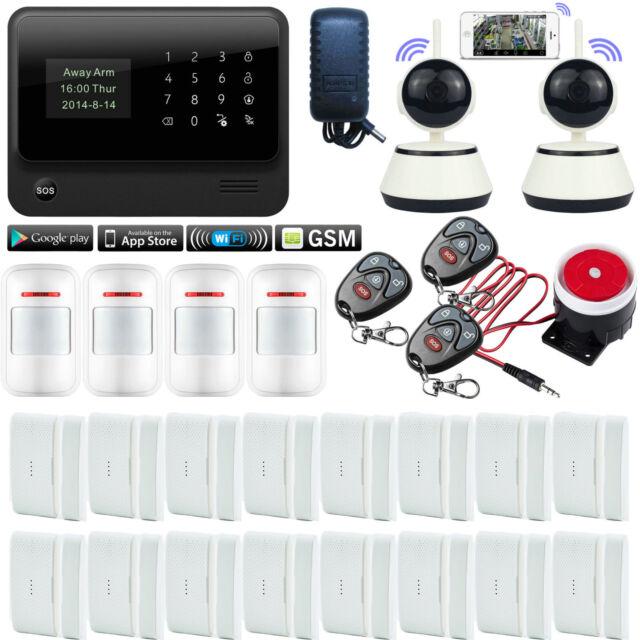 D13 G90B APP WiFi GSM Wireless Home Security Alarm Burglar System+2 IP HD Camera