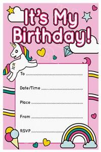 1 X Unicorn Girls Childrens Blank Diy Birthday