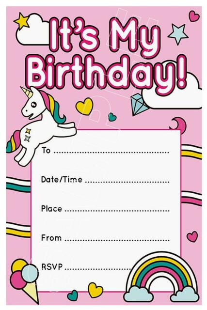 1 X Unicorn Girls Childrens Blank Diy Birthday Party Invitations Magnets