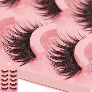 5-Pairs-Long-Makeup-Cross-Thick-False-Eyelashes-Eye-Lashes-Nautral-Handmade-DSU