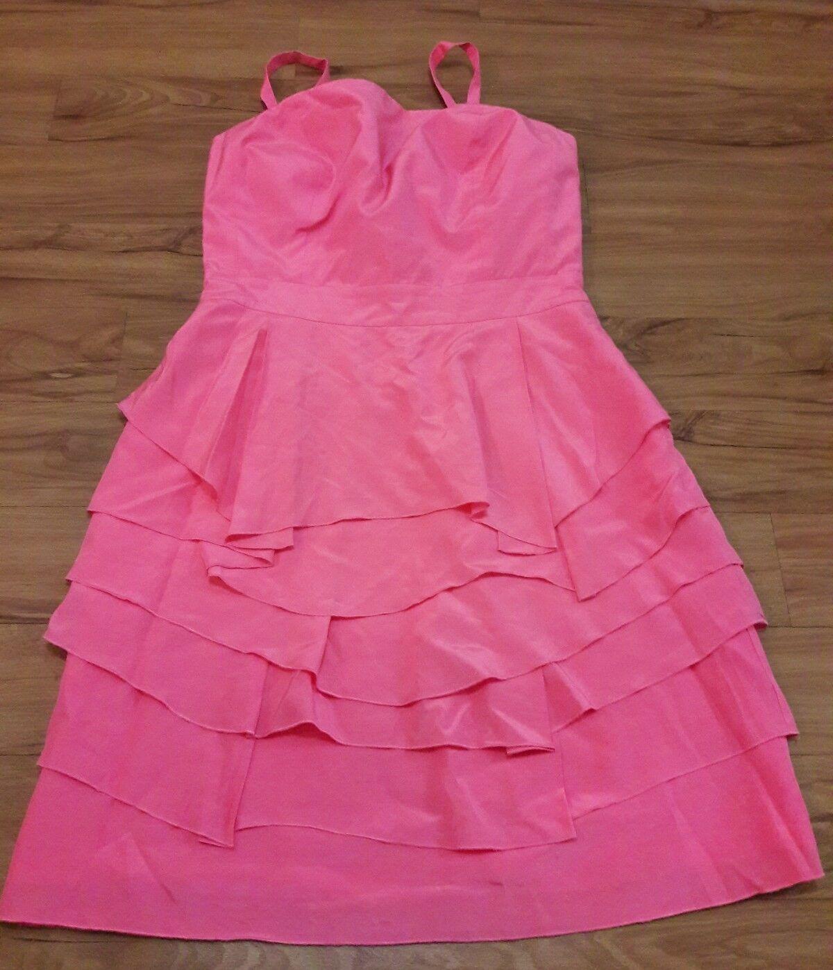 Antonio Melani Strapless Party Dress damen 6 Rosa Cotton Silk Tier Layer Empire