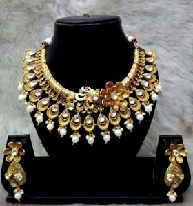 Indian-Bollywood-Wedding-Bridal-Gold-Fashion-Jewelry-Necklace-Earrings-Set
