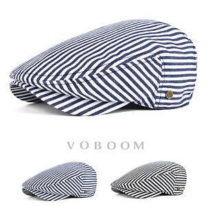 f5de9feb6bf 100% Cotton Flat Caps Striped Newsboy Caps Classic Ivy Caps Cabbie ...