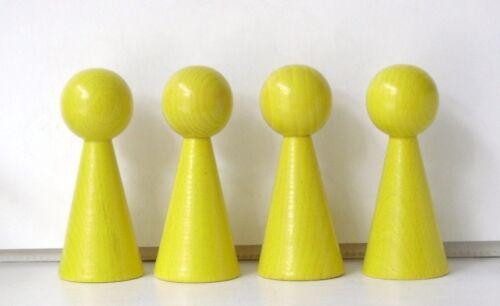 """4 Figurenkegel Spielfigur Halmakegel /""""Gigant/"""" aus Holz 100 mm gelb"""