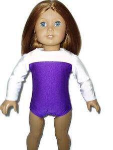 Purple-White-Gymnastics-Leotard-18-034-doll-clothes-fits-American-Girl-Ballet-Dance