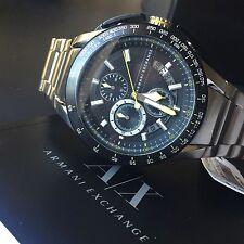 Armani Exchange AX1408 Mens Silver Tone Black Dial Tachymeter Chronograph Watch