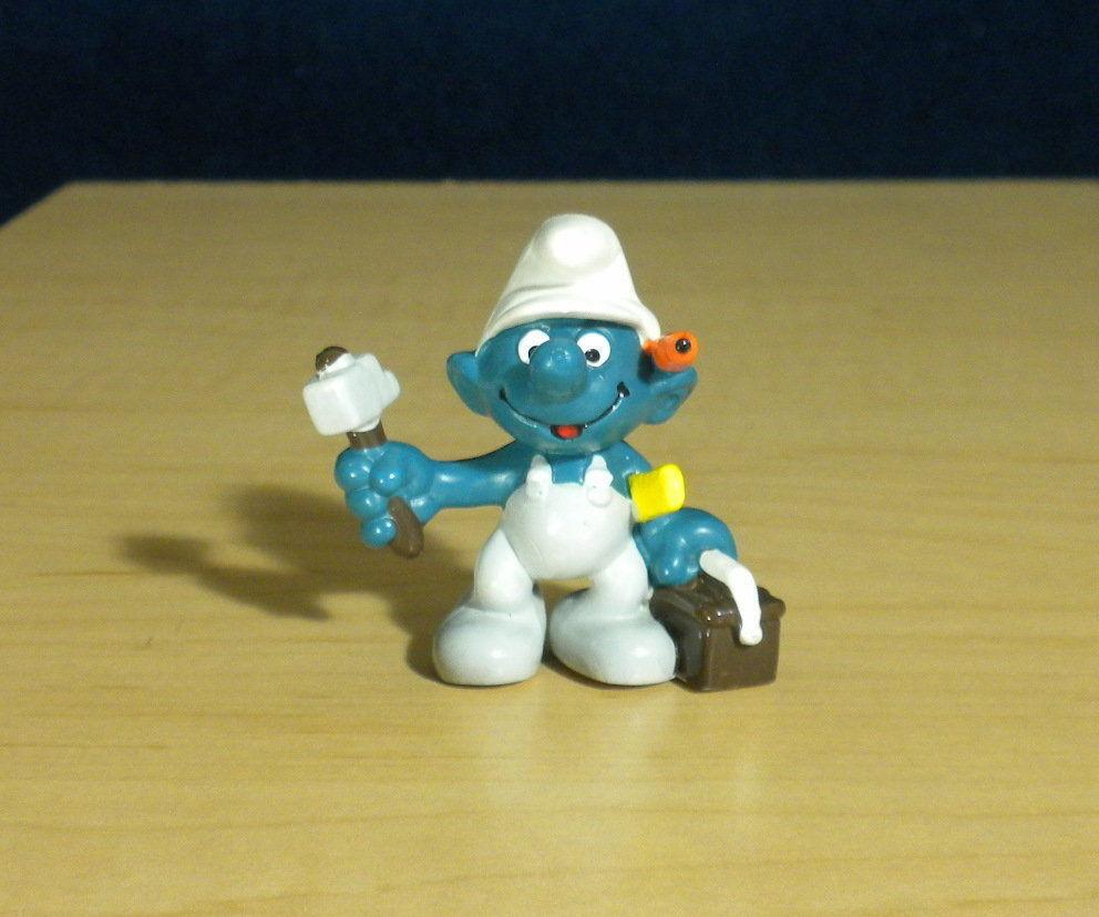 Smurfs 20171 Handy Smurf Hammer Toolbox Vintage Figure PVC Toy Figurine Schleich