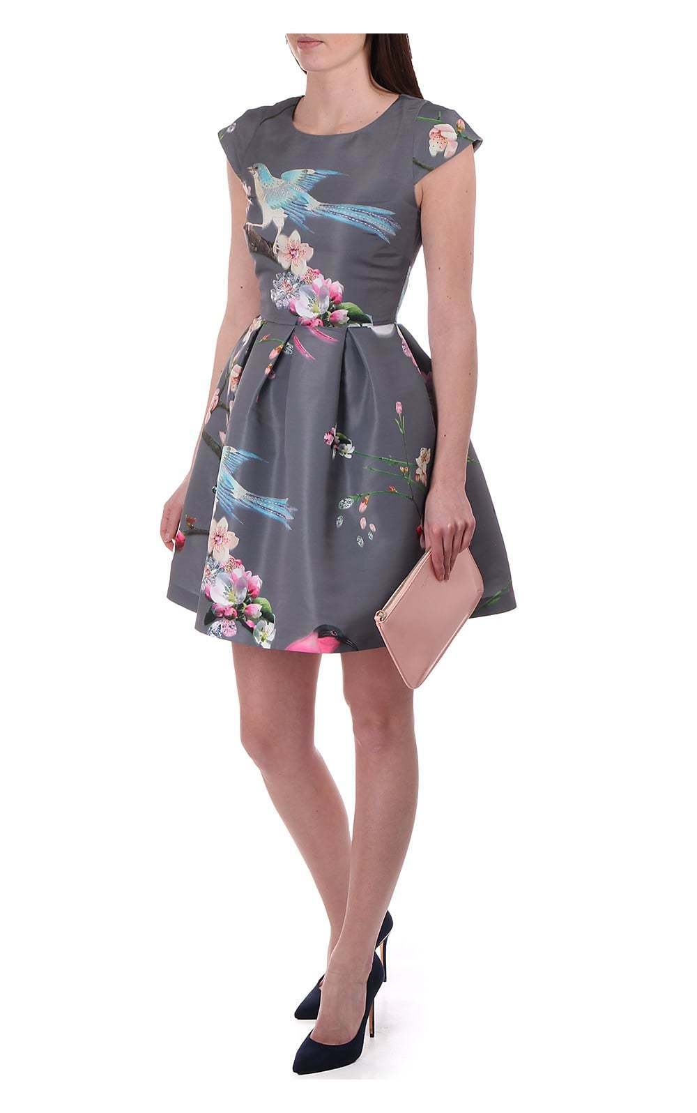 TED BAKER Zaldana vol de l'Orient Fit & Flare jupe robe imprimé oiseaux 2 10 S
