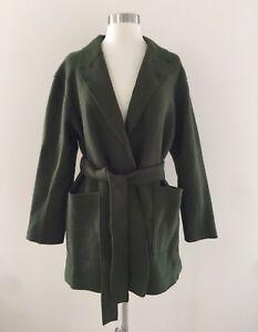 b939f03fe8135 New J.CREW Wrap coat in boiled wool Jacket Deep Moss Green Size M ...