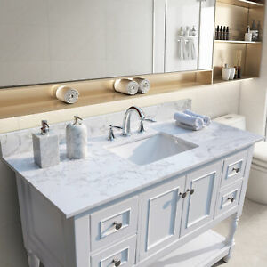 Bathroom Vanity Top With Rectangle Undermount Ceramic Sink And Back Splash White Ebay