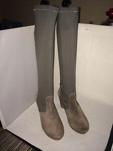 d741138107f0d2 Das Bild wird geladen Patrizia-Dini-Designer-Stiefel-Damenstiefel-grau -Echtleder-35-