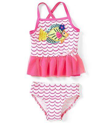 Flapdoodles Girls Tankini Swim Set Fish Applique