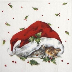 Papel 4x Servilletas Para Decoupage Decopatch Craft Dulce Gatos De Navidad