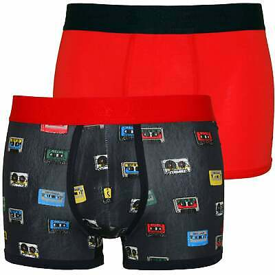 Vintage Navy/red Helpful Original Penguin 2-pack Cassette Tape Print Men's Boxer Trunks