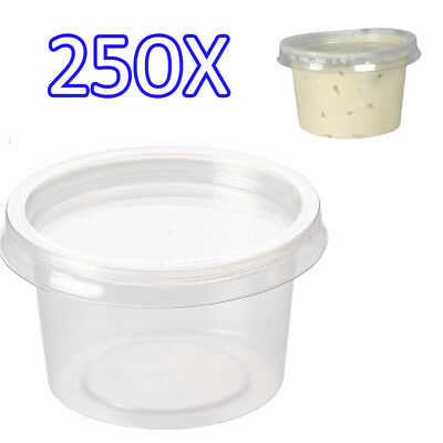 PLASTIC ROUND CONTAINERS TUB WITH LIDS CLEAR FOOD SAFE TAKEAWAY