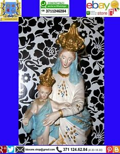 Ancient religious statue Devotional Madonna Plaster plicromo France end 800
