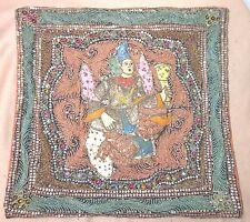 antique 1800's hand embroidered Kalaga Burmese beaded needlepoint tapestry art