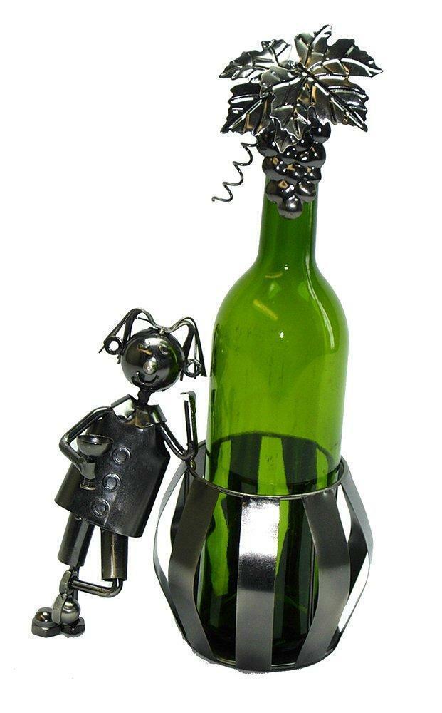 (D) Porte Bouteille Vin, homme et baril, bar comptoir Décoration