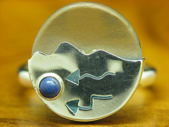 925 Sterling silver Ring mit Lapislbluei & Glas Besatz   Echtsilver   RG 58,5