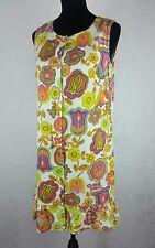 Vintage Dynasty 60s 70s Mod Flower Power Hippie Sheath Dress Sleeveless Size M