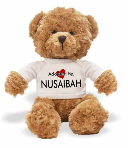 Adopted By NUSAIBAH Teddy Bear Wearing a Personalised Name T-Shi