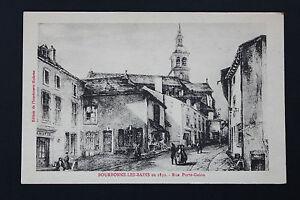 Tarjeta-Postal-Antigua-CPA-Animada-Bourbonne-Calle-Llaveros-Trenza-En-1830-G