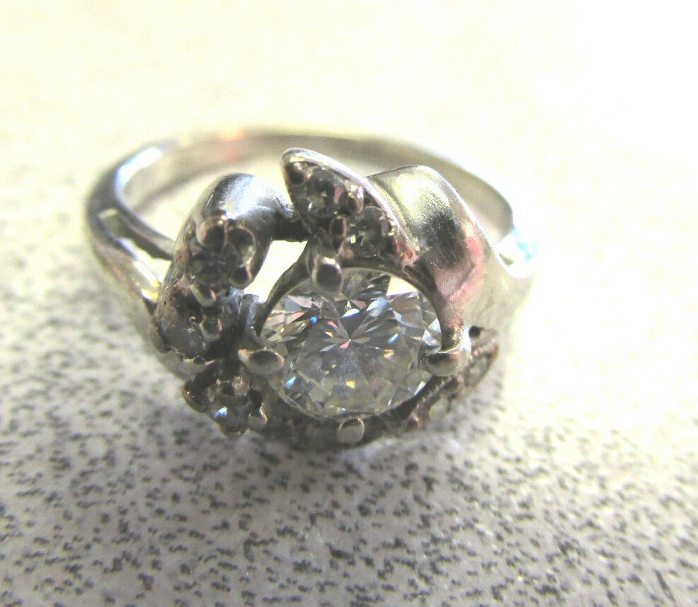 Antique Estate 14k White gold  Diamond Ring  High Quality size 5-1 2  Make Offer
