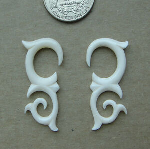 Pair Carved Buffalo Bone Tribal Talon Spirals Hook Taper Ear Hangind Plug Gauges Ebay
